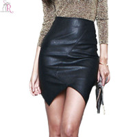 Black PU Faux Leather Asymmetric Mini Bodycon Skirt Casual Pencil Sheath Sexy Streetwear Party 2016 Women Autumn