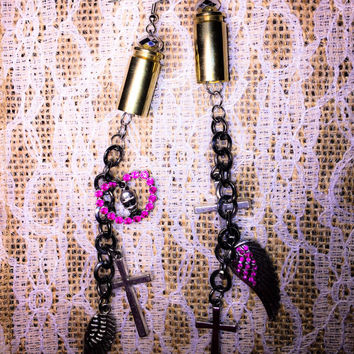 Black and pink 6 charm dangle earrings from gold winchester 40 bullet