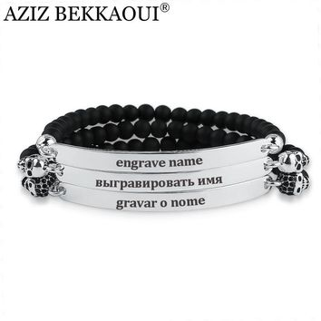 AZIZ BEKKAOUI Onyx Beads Charm Bracelets for Women Men Stainless Steel Bracelet Brand Design Personalized Engraved Name Bangle