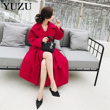 Red Wool Coat Woman Winter Long Plus Size Coats Fashion Turn-down Collar With Belt Solid Slim A-Line Dress Coat High Quality