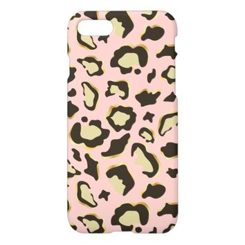 Leopard Print Pattern | Brown Gold & Blush Pink iPhone 7 Case