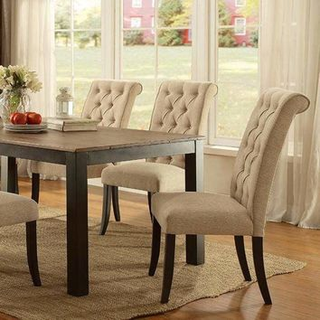 Marshall Transitional Style Dining Table, Rustic Oak Finish