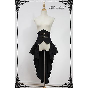 Gothic Lolita Overskirt Seraphim Night Series Waist Cincher with Ruffled Skirt