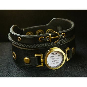 "Black Leather Cuff Bracelet With Anchor Pendant And ""Love The Lord"" Locket"