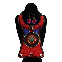 Red, Blue, and Black Bead Raised Collar Long Bib Necklace Set with Cowrie Shell Detail