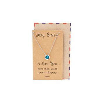 Wanda Swarovski Crystal Pendant Necklaces, Gifts for Sister Quotes Jewelry Greeting Card
