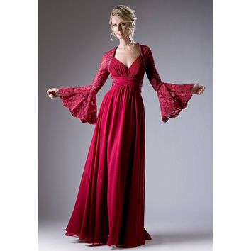 Ruched Bodice Long Formal Dress Lace Trumpet Sleeves Burgundy