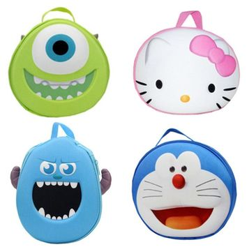 Cute 3D Hello Kitty Monsters University Mike Wazowski Sulley Sullivan Cosmetic Bag Women Makeup Case Storage Bags Make Up Box