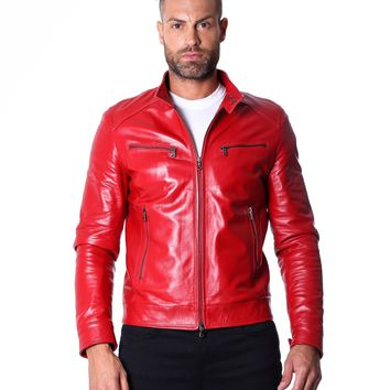 Red Handmade Leather Biker Jacket