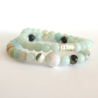 Amazonite Bracelet Stack / Simple Boho Bracelet / Flower Amazonite Stretch Bracelet / Reiki Gemstone Bracelet / Heart and Throat Chakra
