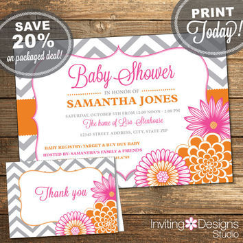Baby Shower Package, Invitation, Thank You Card, Pink, Orange, Chevron, Floral, Flowers, Baby Girl, Printable File (INSTANT Download)
