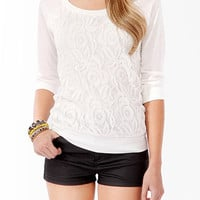 FOREVER 21 Lace Front Raglan Top Cream Small