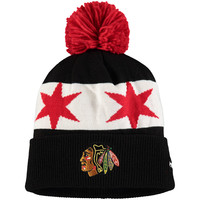 Men's Chicago Blackhawks Reebok Black 2016 Stadium Series Player Cuffed Knit Hat with Pom