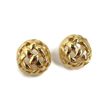 Givenchy Earrings, Basketweave Pierced Studs, Goldtone 1990s Vintage Designer Jewelry, Perfect Gift, Gift Boxed