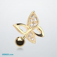 Golden Butterfly Cartilage Earring