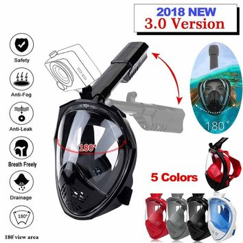 2018 New Upgrade Foldable Anti Fog Fully Dry Diving Mask Swimming Full Face Mask Diving Scuba Diving for GoPro with Earplugs Sno