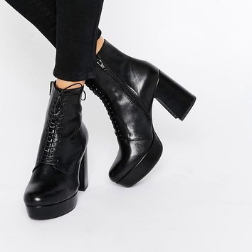 Vagabond Danila Black Heeled Lace Up Ankle Boots