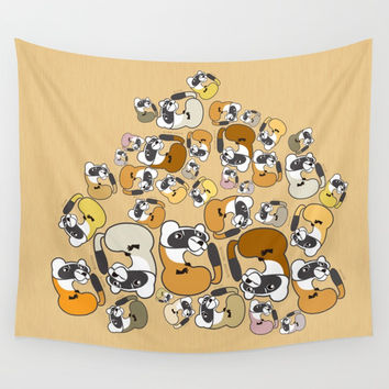 Ferret pattern (T-Shirt) (c) 2017 Wall Tapestry by Belette Le Pink