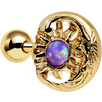 Purple Faux Opal Gold Anodized Moon and Sun Tragus Cartilage Earring