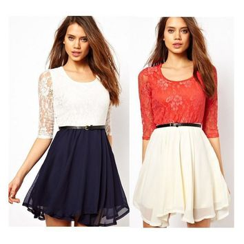 Lace Splicing Short Chiffon With Belt Dress