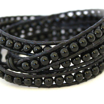 Mens or Womens Black Onyx Triple Beaded Leather Wrap Bracelet Extra Long