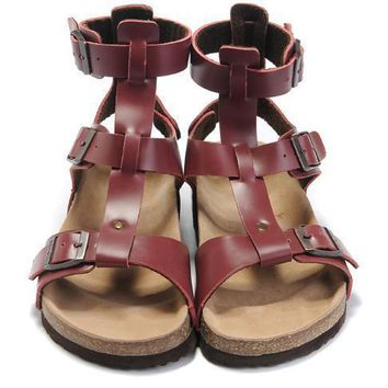 Birkenstock Leather Cork Flats Shoes Women Men Casual Sandals Shoes Soft Footbed Slippers-19