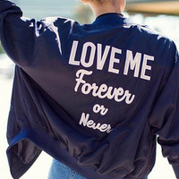"Purple ""Love Me Forever or Never"" Alphabet Embroidery Jacket"