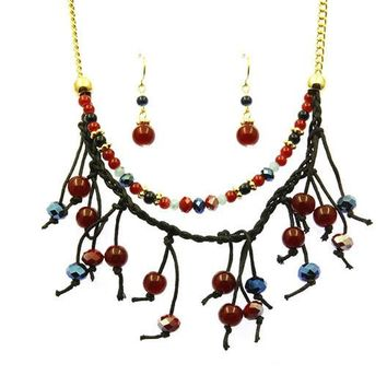 Red Multi Layer Faceted Lucite Bead Necklace And Earring Set