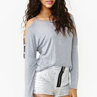 Dolman Cutout Tee - Heather Gray
