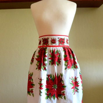 Vintage Christmas Hostess Apron, Red Poinsettias on White Cotton Fabric, Hand Made Half Apron, circa 1960s-1970s