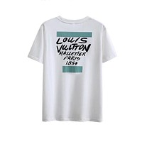 LV Louis Vuitton Trending Women Men Casual Breathable Comfortable Letter Print Cotton Short Sleeve T-Shirt Top Green I-GQHY-DLSX