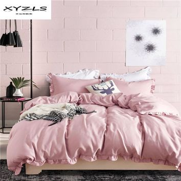 Cool XYZLS Polyester Solid Color Bedding Set Ruffles Duvet Cover Set Soft Pillowcase Quilt Cover 2/3PCS Twin Queen King SizeAT_93_12