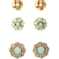 Knot & Stone Stud Earrings - 3 Pack by Charlotte Russe - Mint