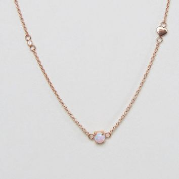 ASOS Rose Gold Plated Sterling Silver Heart Station Choker Necklace at asos.com