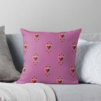'Yin Yang butterfly hearts on pink' Throw Pillow by Zina Stromberg