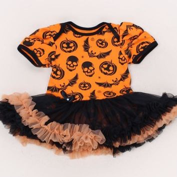 Pumpkin Black Baby Girl Halloween Costumes Lace Petti Rompers Dresses Jumpsuit Fantasias Infantil Girls Clothes Newborn Clothing