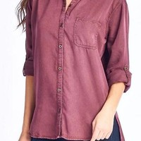 Tencel Denim Button Up in Plum