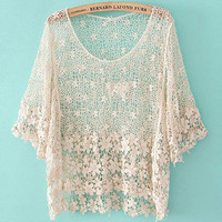 Romantic moments — fashion Crochet hollow shirt