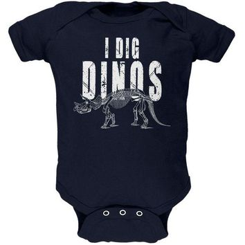 LMFCY8 I Dig Dinos Dinosaur Fossil Bones Triceratops Soft Baby One Piece