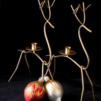"""Candlestick Holders Christmas Brass Wire Reindeer Pair 9"""" MCM Abstract Holiday Decor"""