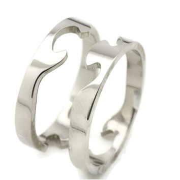 set of 2 puzzle sterling silver wedding freindship bands jigsaw ring - Puzzle Wedding Rings