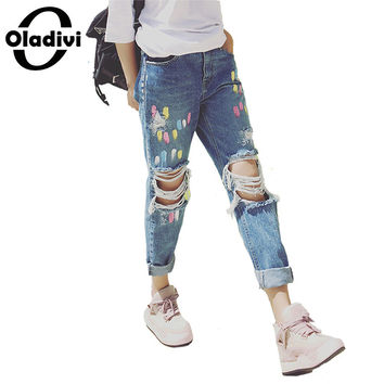 5XL Plus Size Women Clothing 2017 Summer Style Tie Dye Print Jeans Fashion Female Hole Ripped Casual Full Length Denim Pants XL