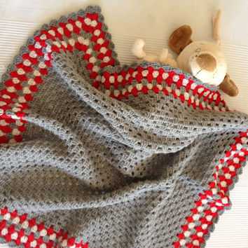 Grey Bamboo Granny Square Afghan Baby Blanket- 30'x30'