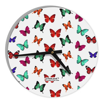 "Pretty Butterflies AOP 8"" Round Wall Clock All Over Print"