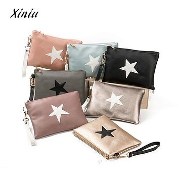 Designer Women Handbag Female PU Leather Women Stars Envelope Bag Zipper Coin Purse Wallet Card Holders Handbag dropshipping