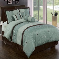 Grand Park Aqua-Blue 7-Piece Comforter Set