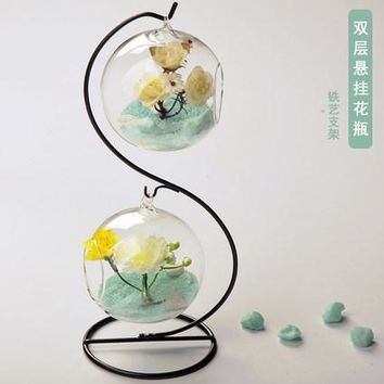 New Cute Clear Hanging Glass Creative Double Crystal  Hydroponic  flower pots planters glass vase double layer glass ball