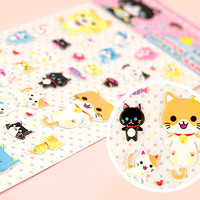 Buy Kawaii Neko Kitty Squidgy Sponge Stickers at Tofu Cute