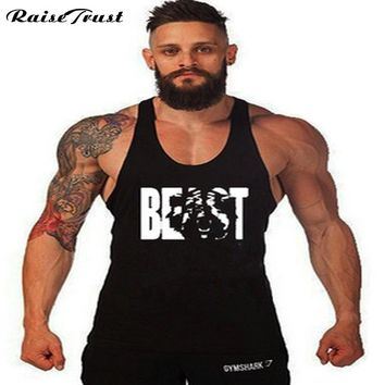 Mens workout tank top beast sleeveless T shirt ahtletic BEAST bodybuilding fitne