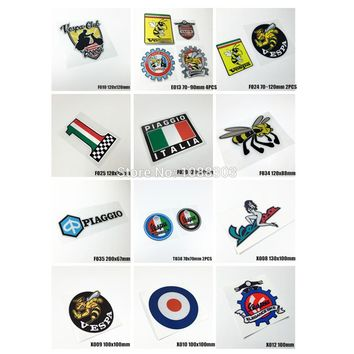 12styles Car Motorcycle Bike Helmet Motor Racing Car Sticker Decals for Vespa Club Bee Piaggio Car Styling